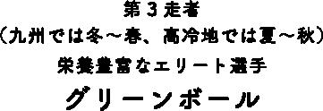 第3走者(九州では冬〜春、高冷地では夏〜秋)栄養豊富なエリート選手 グリーンボール
