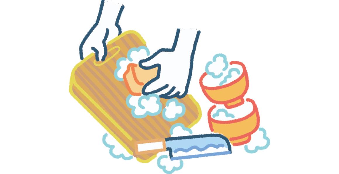 調理器具、食器は清潔に