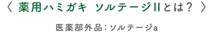 〈 薬用ハミガキ ソルテージⅡとは? 〉医薬部外品:ソルテージa